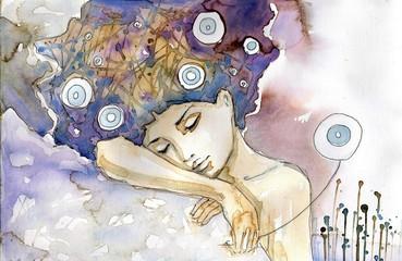 kobieta która śpi na swoim ramieniu