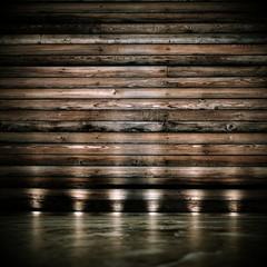 Wohndesign - Raum mit Holzwand beleuchtet