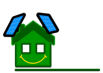 Green eco house with solar panels - Illustration
