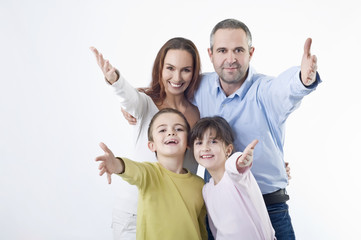Happy family gesturing