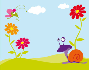 floral background with butterfly and snail