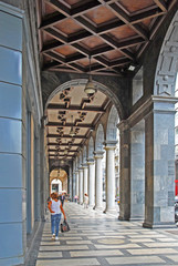 Italy, Milan downtown portico.