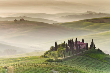 Foto op Canvas Toscane Early morning on countryside, San Quirico d´Orcia, Tuscany, Ital
