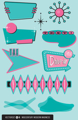 Set of 10 retro, 1950s design elements