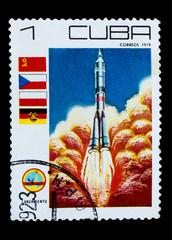 CUBA - CIRCA 1979: A stamp printed in CUBA, start off rocket spa