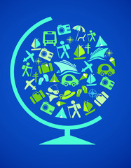 globe with traveling  template  on blue, vector illustration