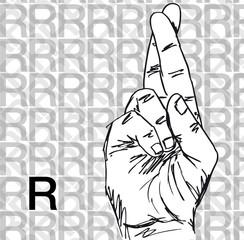 Sketch of Sign Language Hand Gestures, Letter R.