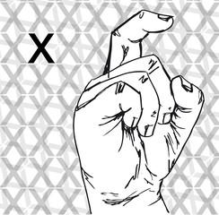 Sketch of Sign Language Hand Gestures, Letter X. vector illustra
