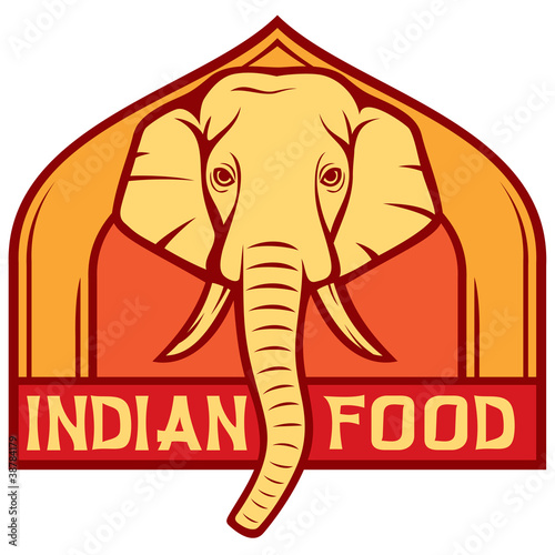 Indian food label stock image and royalty free vector for Art of indian cuisine