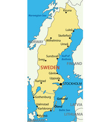 Kingdom of Sweden - vector map