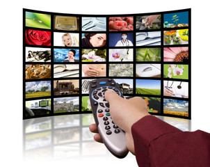Digital television production concept, remote control TV.