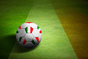Flag of Italy with soccer ball over grass - Euro 2012