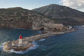 lighthouse and fortifications at cartagena spain