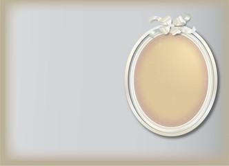 cadre photo ovale blanc sur fond gris