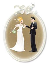 médaillon illustration mariage
