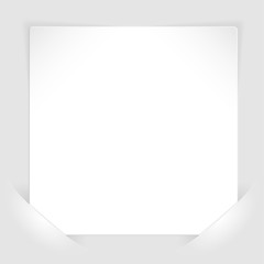 Sheet of white paper mounted in pockets