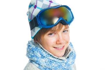 Portrait of a caucasian teenager in ski wearing