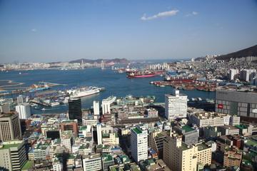 Pusan city skyline,Aerial View ,South Korea