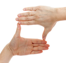 two hands make frame shape isolated