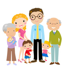 Big cartoon family with parents