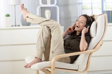Woman having fun with headphones