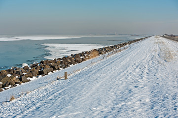 Frozen lake along a dam, Almere, Netherlands