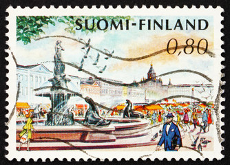 Postage stamp Finland 1976 Market Place and Mermaid Fountain, He