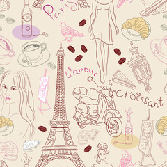 Self adhesive Wall Murals Doodle Seamless background with different Paris elements