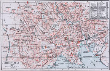 Vintage map of town of Christiana