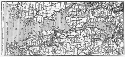 Vintage map pf Christiana Fjord at the beginning of 20th century
