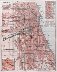 Vintage map of Chicago at the beginning of 20th century