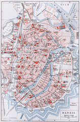 Vintage map of Danzig at the beginning of 20th century
