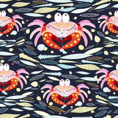 seamless pattern of leaves and crabs