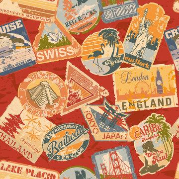 Vintage luggage labels seamless pattern
