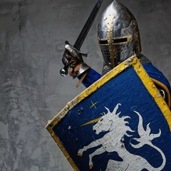 Foto op Canvas Ridders Medieval knight in attack position.