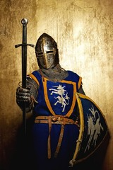 Aluminium Prints Knights Medieval knight on golden background.