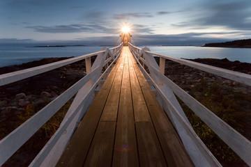Marshall Point Lighthouse at sunset, Maine, USA