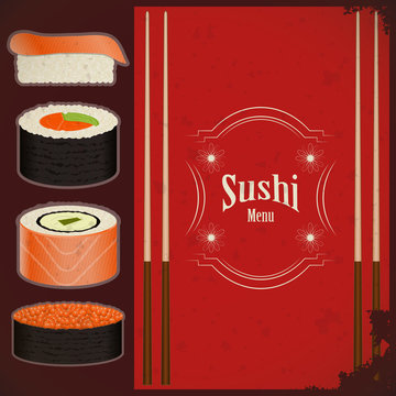 Vintage Sushi Menu - the food on grunge background