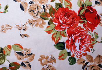 Silk floral fabric with red rose