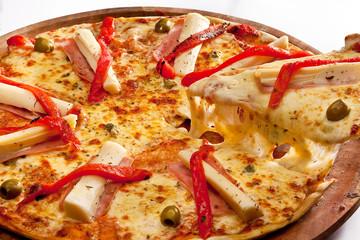 pizza con palmitos y morrones