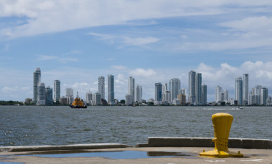 Cartagena skyline from container port