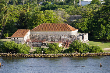 Old Spansih fort in the harbor of Cartagena