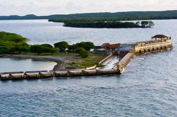 Fort and cannon platform Cartagena harbor