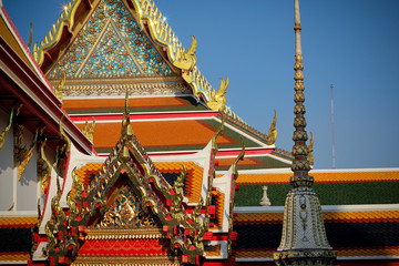 The elements of Wat Pho temple in Bangkok