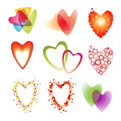 Set of a nine heart