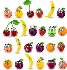 Мультфильм апельсин, банан, яблоко, груша, вишня, персик, слива
