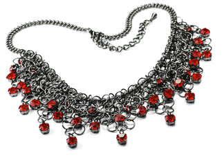 Wall Mural - necklace with red stones isolated on white