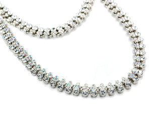 Wall Mural - necklace with white crystals isolated on white