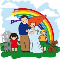 Door stickers Rainbow happy family rich house