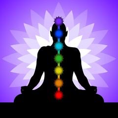 Yogi with chakras. Silhouette of man in lotus position.